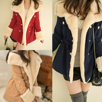 2013 Korean winter thick double-breasted Slim thin female woolen coat College Wind