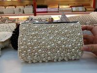 Free Shipping Custom Women Pearl bag Gold Chain Crystal Clutch Evening Bag Party Wedding Handbag Purse