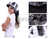 Autumn Winter Women's Fashion Genuine Real Knitted Rex Rabbit  Fur Visor Hats Lady Warm Caps Bone Touca QD29520