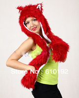 Womens 2013 New Designer  Faux Fur Red  Fashion Winter hat Wolf Hat Warm  Animal Beanie Cap  Ear Hoodie Scarf and Glove Together