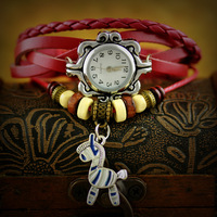 New fashion women leather 2013 vintage watches women bracelet watches quality pony pendant watch