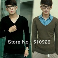 New fashion and comfortable leisure pure color men sweater 2111