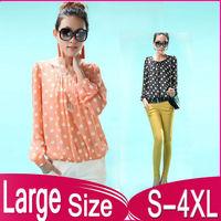 The new large size women chiffon blouse fashion dot chiffon shirt L,XL,XXL,XXXL,3XL,XXXXL,4XL free shipping