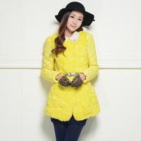 2014 Freeshipping Nylon Thick Long Belt No Full Solid New Real Winter Jacket Women Female Medium-long Coat Rabbit Fur Slim Sweet