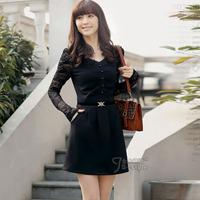 2013 new Korean temperament OL lady autumn long-sleeved Slim single-breasted Belt Bubble Dress plaid women winter dresses 4 size