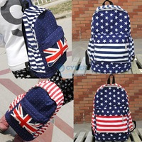 Unisex Canvas Teenager School Bag Book Campus Backpack Bags UK US Flag Wholesale Retail Drop Shipping 18347