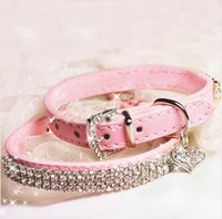 Hot Sale Pink Leather Pet Collar with Sparkly Rhinestone for Puppy Doggie or Cats