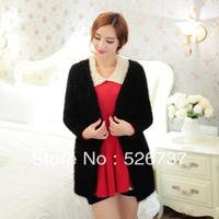 2013 women's fashion elegant solid color fleece sweater loose cardigan outerwear Sweaters