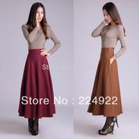 2015 Fashion Autumn High Waist Wool Maxi Vintage Skirt Winter Plaid Women Plus Size Long Warm Skirts Saia Femininas Longa  S-3XL