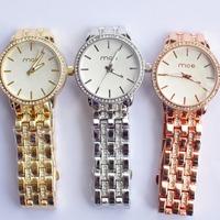 2013 Original Fashion Three Kinds Of Color  Classic Emegant Alloy Watchband White Dial Quartz Lady Watch