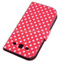 Polka Wallet Stand Leather Case Cover for Samsung Galaxy I9300-- In Stock