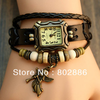 2013 Fashion Beads Decorated, Jewelry Leather Strap Vintage Brand Swiss Watch Dress Bracelet Bangle Women&Lady's WristWatch