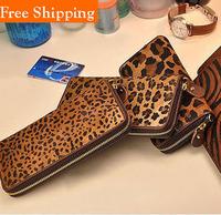 Leopard Horsehair Genuine Leather Wallet Ladies Leopard Purse Bag  Long Zipper Wallet Carteira Femininas Necessaires