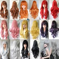 "1 Pcs 31""/80cm Heat Resistant Bang Long Wavy Curly Cosplay Anime Wigs Party Lot 8 Colors"