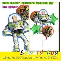 5PCS/SET Toy Story Buzz Shape Foil Mylar Balloon Children Birthday Party  Decoration Foil Balloons -Free Shipping