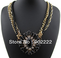 New 2013 gold chain balck beads necklace flower rhinestone women jewelry gift  statement necklaces free shipping