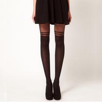 Sexy Women Boots Knee Harajuku Pantyhose  Nylon Stockings womens  Black Striped Tights Patchwork Free shipping
