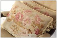 "A Pair Wool Handmade Aubusson Pillow Cushion - shabby chic home decor - 18""x14"" Home Decorative"