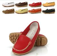 2015 comfort Big PlusSize 35~41 Women genuine Leather Shoes Lady ballet shoes Woman dance Shoes slip-on loafers women moccasins