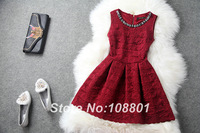 2013 New Layers Of  Crocheted Lace Collar Dress Nail drill Slim Retro Solid