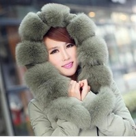 2014 New Long Over size Fox Fur Collar White Duck Down Jacket Womens Winter Thick Warm Zipper Hooded Down Coat H1766