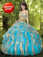 In Stock!! US 2.4.6.8.10.12.14 Sweetheart Organza Colorful Quinceanera Dresses Ball Gowns