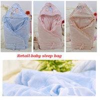 Retail Baby's Coral Velvet Sleepsacks Newborn 100% Cotton Receiving Blanket For Autumn Sleeping Bag Winter For Stroller Cart