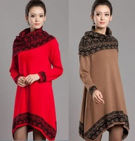 2014 Winter Korean Women Long Sweater Cashmere Sweater Dress W/ Scarf Irregular Loose Large Size Women S-XXXL 4Colors