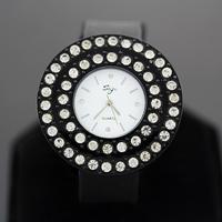 2014 fashion girls round with two diamond wrist watch