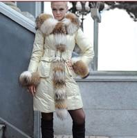 2014 medium-long high quality luxury raccoon large fur collar hooded down coat,white down jacket beige,purple,S-2XL