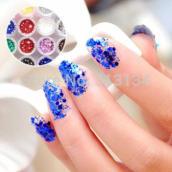 1set 12pcs Glittery UV GEL Extension DIY Builder Nail Art glitter powder Free Shipping(China (Mainland))