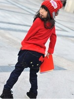 2013 Offer free shipping and 1 pcs retail baby girls winter and autumn long jeans for 3-6 year kids