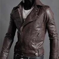 Spring 2014 New Fashion Irregular Zipper Men Jackets/Punk Slim Short PU Leather Jackets Men Coats/Casual Men Clothing