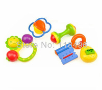 Free shipping 4pcs/set New Lovely Plastic Baby Toys Hand Shake Bell Ring Rattles toys Baby Educational Toys