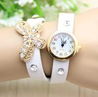 10 colors New Arrival leather strap women rhinestone bracelet butterfly watches women dress watches 1pcs/lot