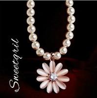 Fashion opal daisy flower pendat pearl choker necklaces short design necklace for women 2014 bijoux jewelry wholesale