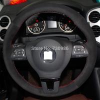 XuJi Black Suede Steering Wheel Cover for Volkswagen VW Gol Tiguan Passat B7 CC Touran Magotan Sagitar