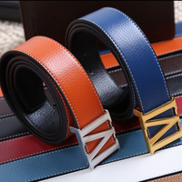 2013 New Fashion Leather Belt Men's Casual Belts Automatic Mirror Buckle Leather Belt Father Gift Free Shipping