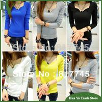 T045 Wholesale Womens Fashion Tops 2013 Autumn New Style Woman Cotton Long Sleeve Basic T Shirts