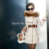 2014 Winter Women Wadded Overcoat Thickening Liner Raccoon Fur Collar Duck Down Jacket M-2XL Free Shipping