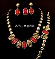 Daren Design Dubai Jewelry 18K Gold Plated red resinNecklace Set, Wedding/ Bridal Jewelry set african set DRSC513