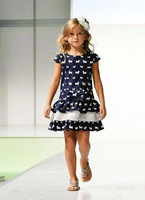 New 2014 Summer Girl Dress Hot Fashion Children Dress with Dog Print  Brand Designer Girls' Casual Dresses Kids Clothing 2-10Y