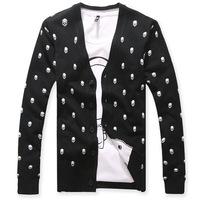 New 2014 Fashion Autumn Winter Brand Man Plus size Skull Pattern Cardigan Knitted Mens Sweater Casual Shirt Coat Jacket Black
