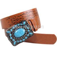 Fashion New Arrivel Brown Vintage Rhinestone Embossing Belt For Women Top-Quality  APACHE Women's Belt