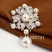 New Fashion Jewelry Fashion Retro Luxury Brooches Silver Pearl Beatiful Wedding Brooches For Women Rhinestone Brooch
