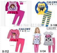 Retail/ 2013 new arrival children boys girls long sleeve  cartoon pajamas/ kids sleepwear / baby homewear