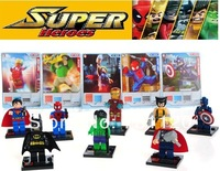 2013 NEW 8pcs Super Heroes Avengers Iron Man Hulk Batman Wolverine Thor plastic Building Block Sets No Original Box