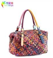2014 Hot Selling Women 100% Genuine Leather Bag Women Handbag Fashion Cowhide Patchwork Bag 9058
