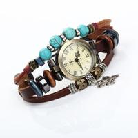 Leather Strap Girls Women's Dress Vintage Beaded Watch Dress Wrist Bracelet Butterfly Pendant 200PCS