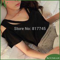 T010 Wholesale Off The Shoulder Tops For Women Modal Cotton Black Short Sleeve T Shirts